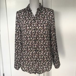 Talbots | Olive Green Floral Button Down Size XS